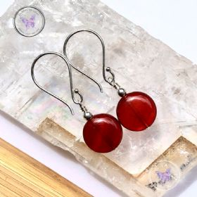 Carnelian Coin Earrings
